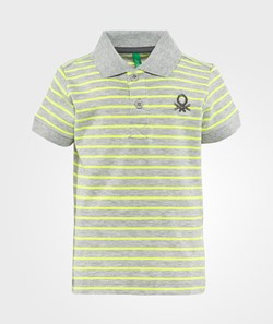United Colors of Benetton Stripy Logo Polo T-Shirt Grey