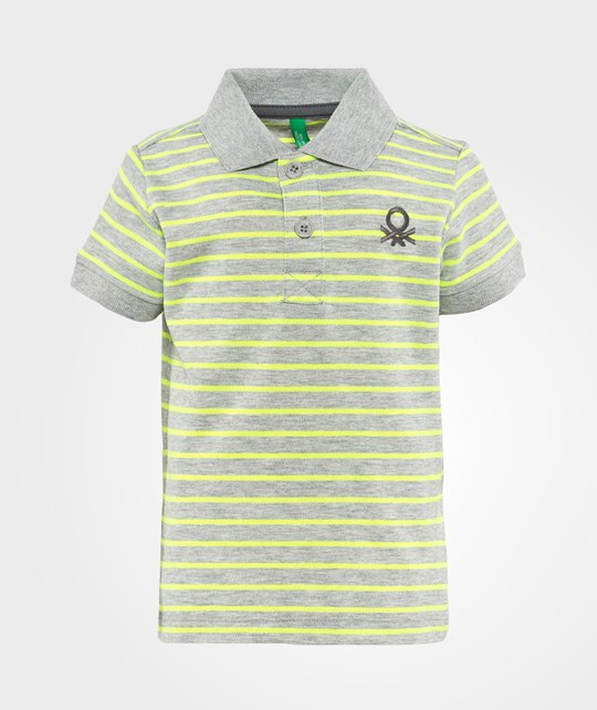 United Colors of Benetton Stripy Logo Polo T-Shirt Grey Black