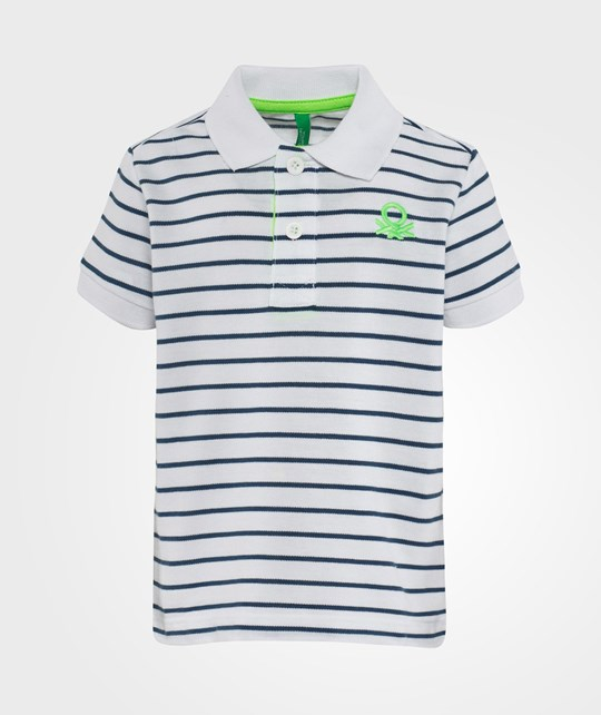 United Colors of Benetton Stripy Logo Polo T-Shirt Classic White Classic White