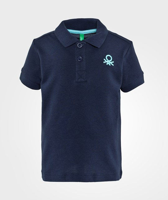 United Colors of Benetton Bright Colour Logo Polo T-Shirt Navy Navy