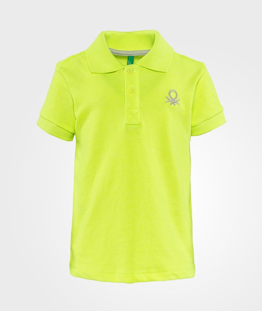 United Colors of Benetton Bright Colour Logo Polo T-Shirt Yellow Navy