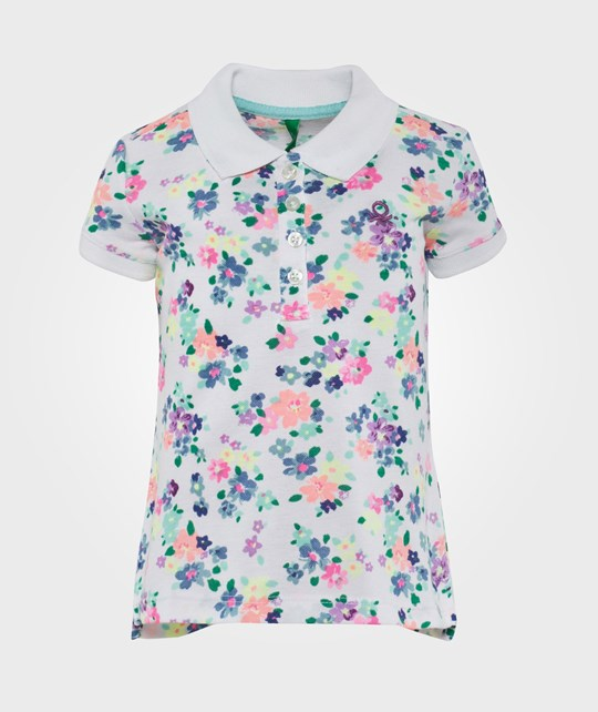 United Colors of Benetton Flower Print Polo T-Shirt With Contrast Colour Logo White White