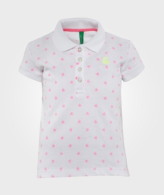 United Colors of Benetton Heart Print Polo T-Shirt With Contrast Logo White White