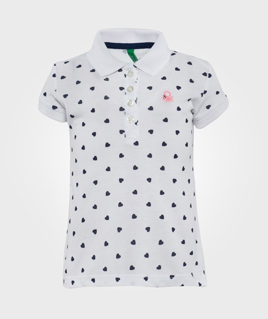 United Colors of Benetton Heart Print Polo T-Shirt w. Contrast Logo White White