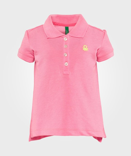 United Colors of Benetton Short Sleve Polo T-Shirt With Contrast Colour Logo Rosa Lyserød