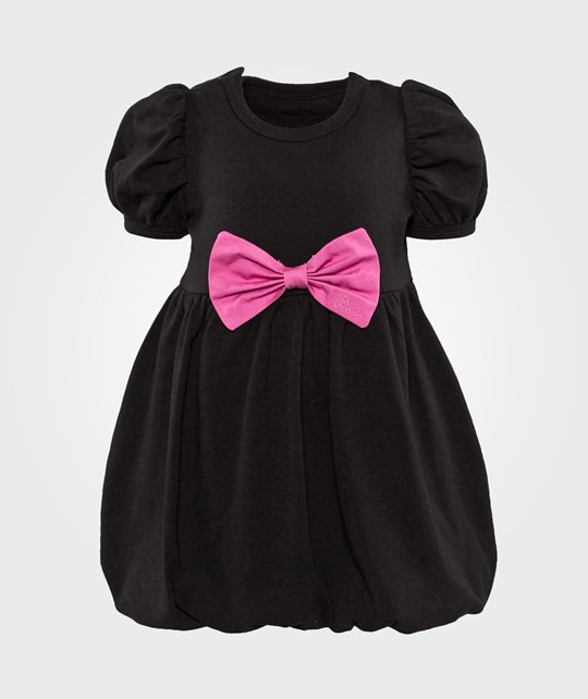 The Tiny Universe Black Switch Dress/Medium Pink Ribbon Black and Pink