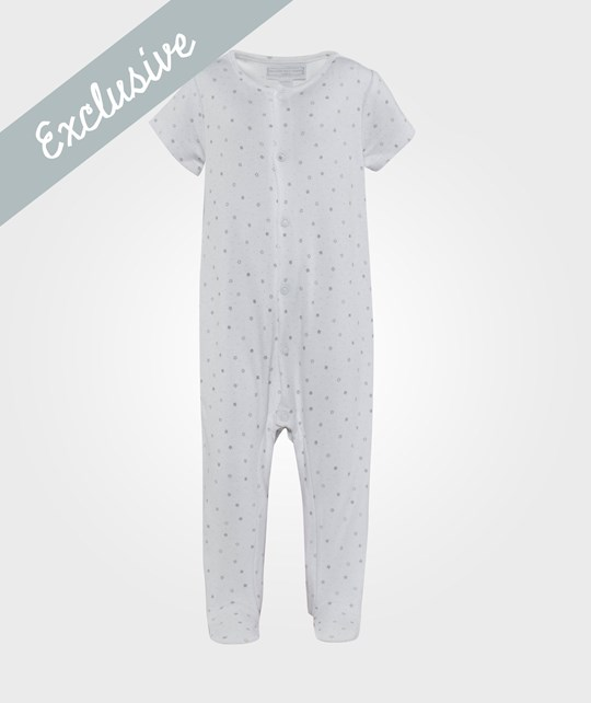 The Little White Company - White Babygrow W Star Print
