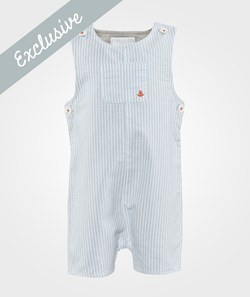 The Little White Company Pale Blue Stripe Dungarees