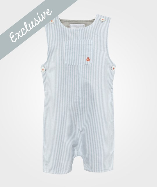 The Little White Company Pale Blue Stripe Dungarees Sand
