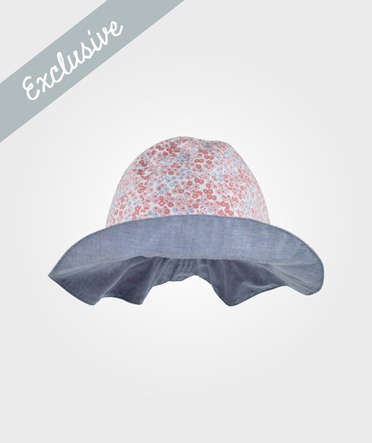 The Little White Company Pink Ditsy Print Reversible Hat Multi