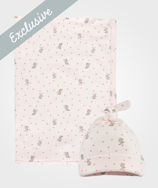 The Little White Company Pink Bunny Print Blanket And Hat Set Pink