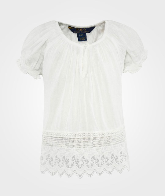 Ralph Lauren Ssl Lace Hem Top Deckwash White Vit