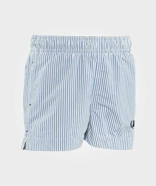 Fred Perry Striped Swim Shorts Mid Blue