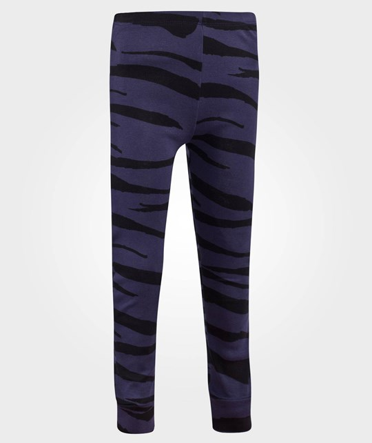 Mini Rodini Tiger Stripes AOP Leggings Dk Blue Dk Blue