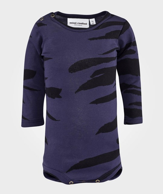 Mini Rodini Tiger Stripes AOP LS Body Dk Blue Dk Blue
