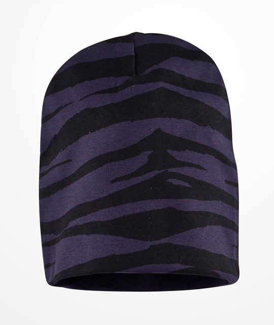 Mini Rodini Tiger Stripes AOP Beanie Dk Blue Dk Blue