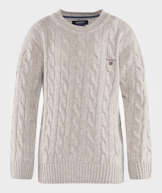 Gant Lambswool Cable Crewneck Light Grey Melange Grå