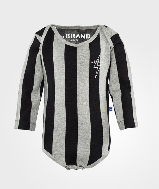 The BRAND Baby Onesie Stripe Grey/Black Stripe Grey/Black
