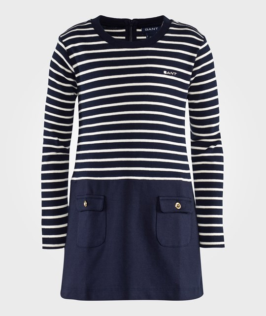 GANT Bretton Stripe Jersey Dress Evening Blue Blå