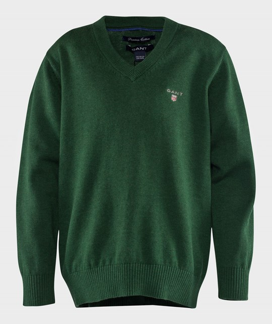 Gant Cotton V-Neck Forest Green Mel Green