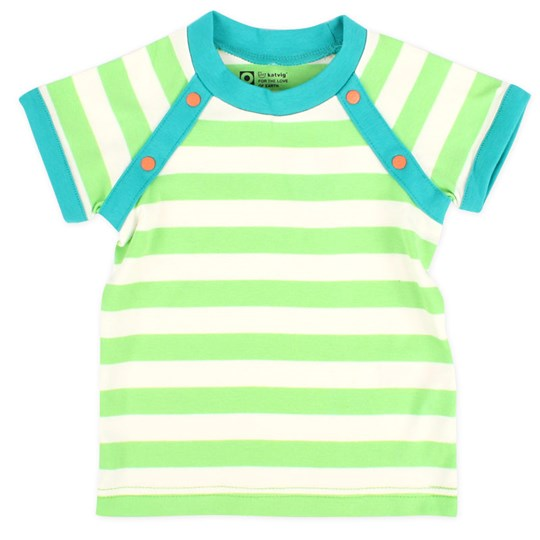 Katvig S/S T-Shirt Green/White Stripe Green