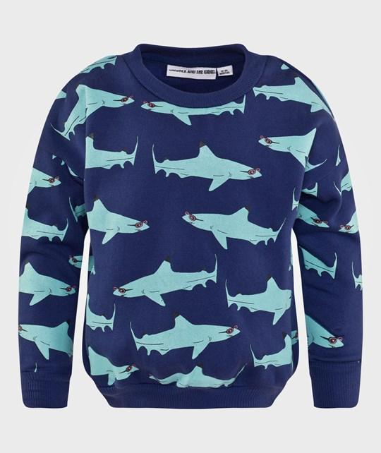 Gardner and the gang The Classic Sweater Wayne - Mint Print Blue