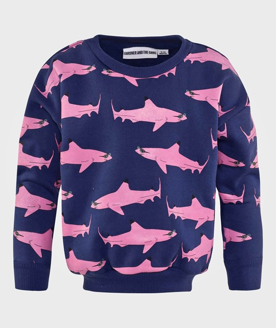Gardner and the gang The Classic Sweater Wayne -Pink Print Blue