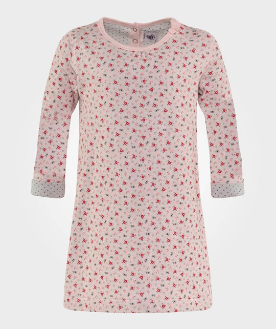 Petit Bateau Dress Pink w. Flowers Multi