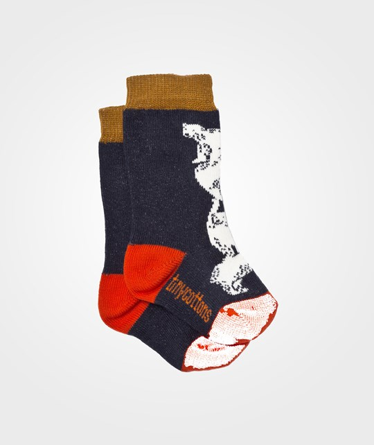 Tinycottons Bears High Socks Navy/Beige/Red Multi