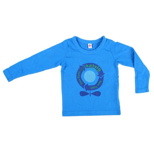 Katvig L/S T-Shirt Kids Blue Recycle Blue