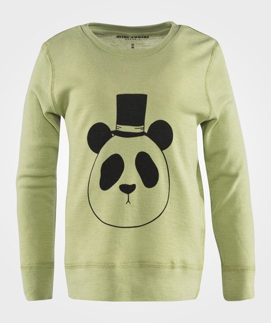 Mini Rodini Panda SP Wool LS Tee Green Green
