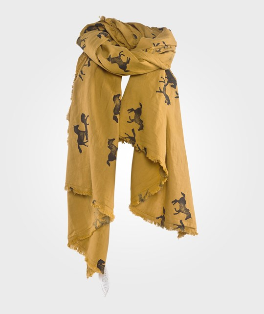 Bobo Choses Scarf Fringes  Horses AO Brown