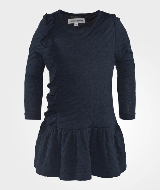 Christina Rohde Dress Frill Navy Blue