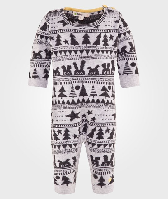 The Bonnie Mob Wilderness Jaquard Knitted Playsuit Grey Grå