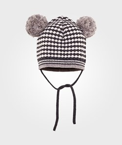 The Bonnie Mob Woven Stitch Knitted Hat With Pop Pom Ears Multi