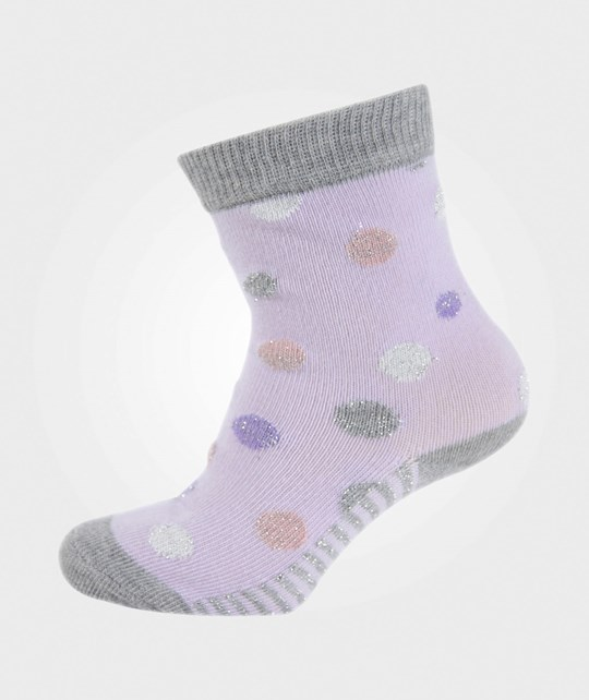 Melton Babysock, Dots W/Lurex Light Purple Lilla