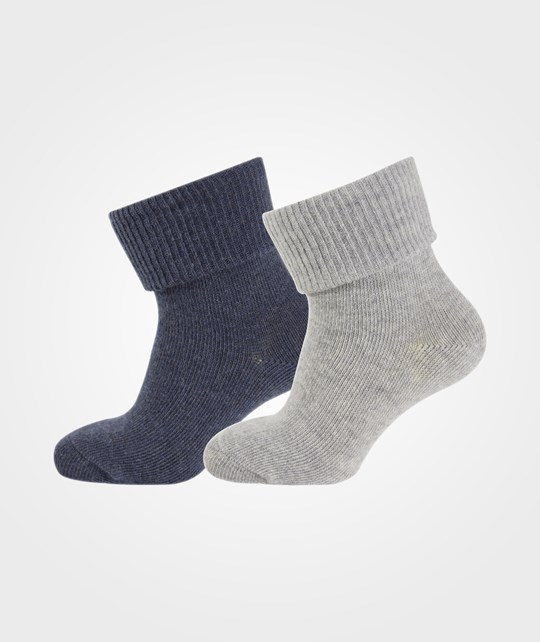 Melton 2-Pack Baby Melange Socks Light Grey Melange Grey