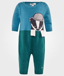 The Bonnie Mob Mr Banks The Badger Intarsia Knit Playsuit Blue