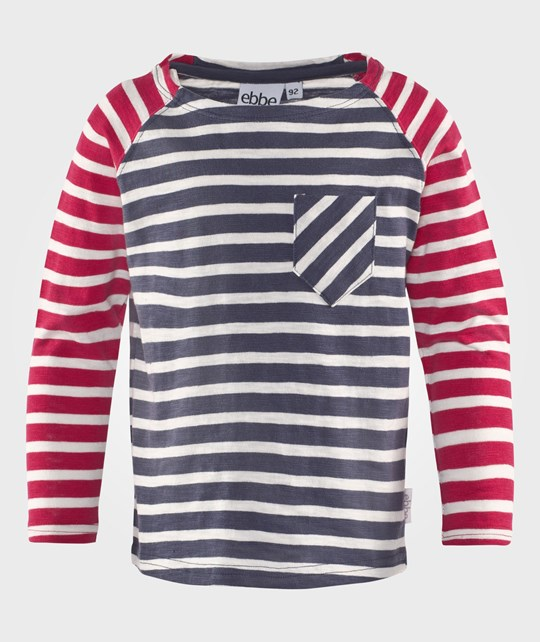 ebbe Kids Frej L/S Raglan Washed Navy/Offwhite Stripe Washed navy/Offwhite stripe