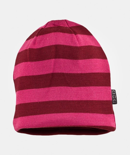 Mikk-Line Hat striped wool w cotton Rhubarb Rhubarb