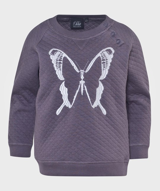 Petit by Sofie Schnoor Quilted Sweat In Purple, Embroidery Of Butterfly Purple Purple
