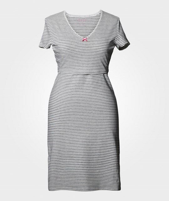 Boob N Nightdress Stripe Offwhite/Grey Grå