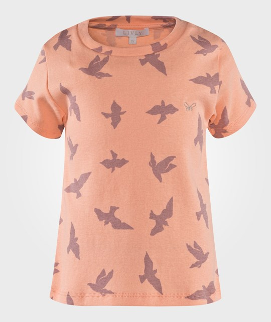Livly T Shirt Luna Birds Peach Pink