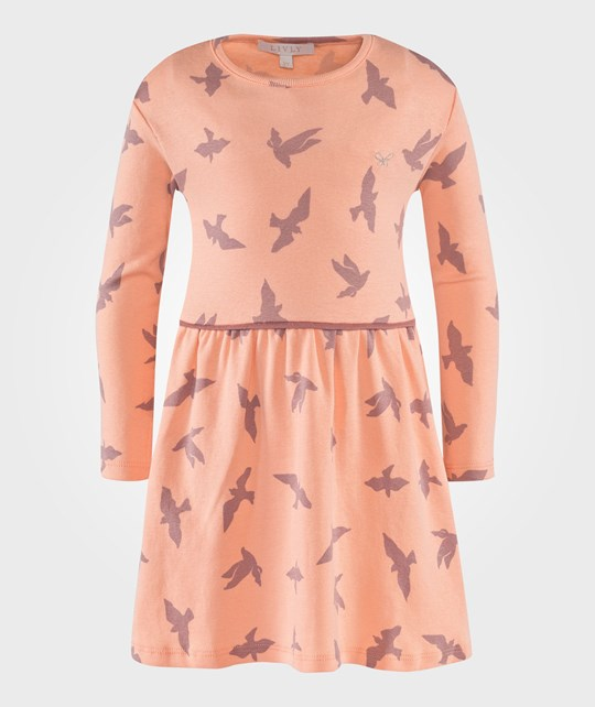 Livly Lotta Dress Luna Birds Peach Lyserød