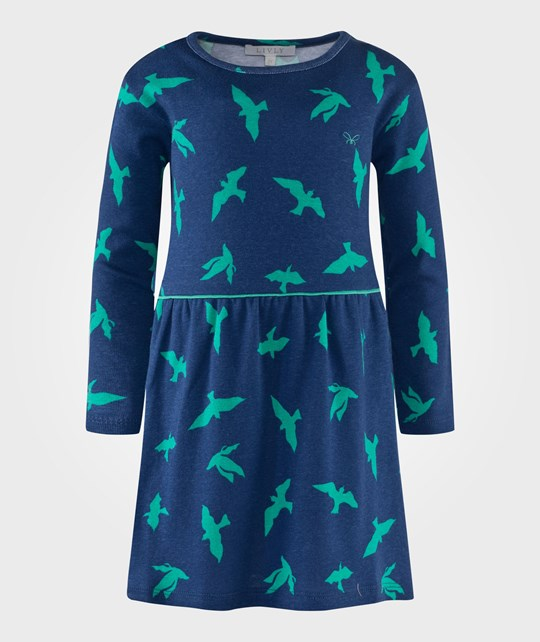 Livly Lotta Dress Luna Birds Blue Blå