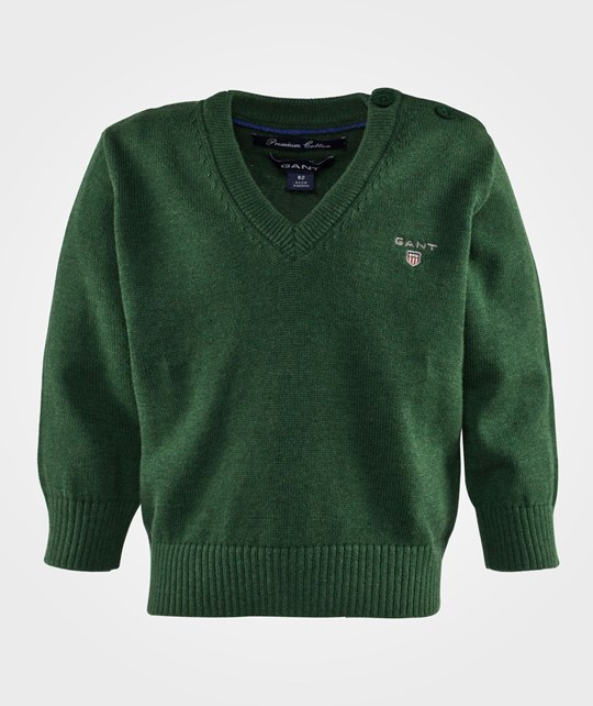 Gant Boy Solid Cotton V-Neck Forest Green Mel Grön
