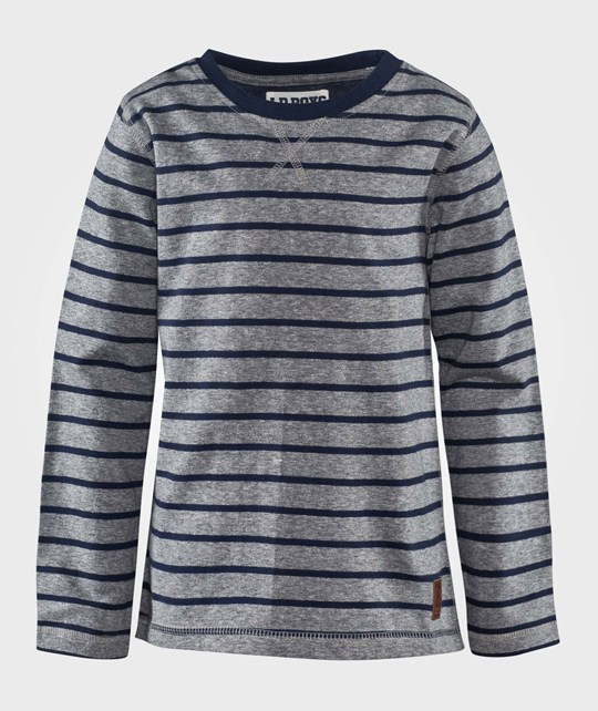Little Pieces Lprubus Ls Tee Stripes A Lt Grey Mel Black Iris Stripes Grå/Svart