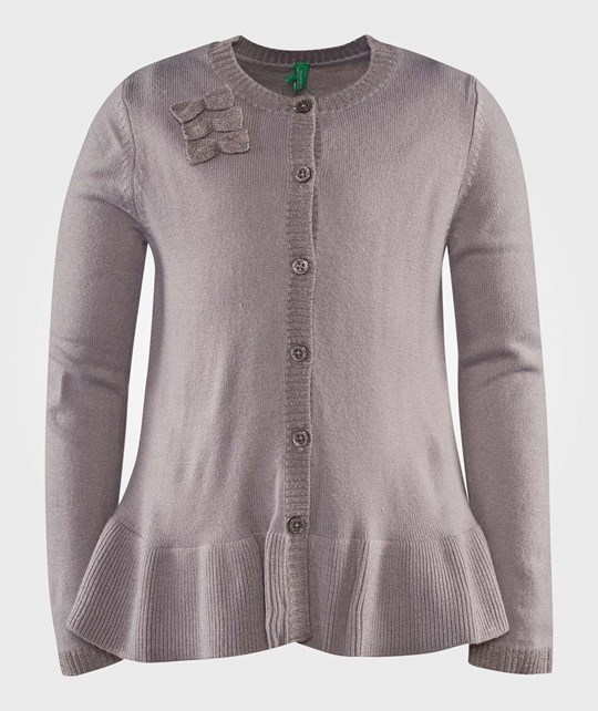 United Colors of Benetton Knit Cardigan With Bow Details Grey серый
