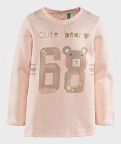 United Colors of Benetton Cute Bear Print T-Shirt Pale Pink