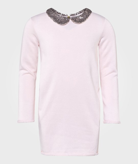United Colors of Benetton Jersey Dress With Sequins Colar Detail Pale Pink Rosa